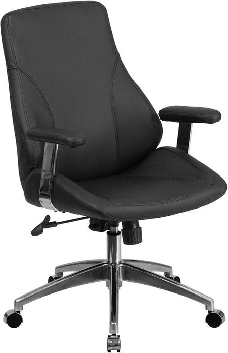 Flash Furniture BT-90068M-GG Mid-Back Black Leather Executive Swivel Chair with Arms
