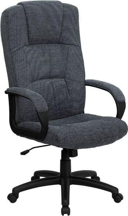 Flash Furniture BT-9022-BK-GG High Back Gray Fabric Executive Swivel Chair with Arms