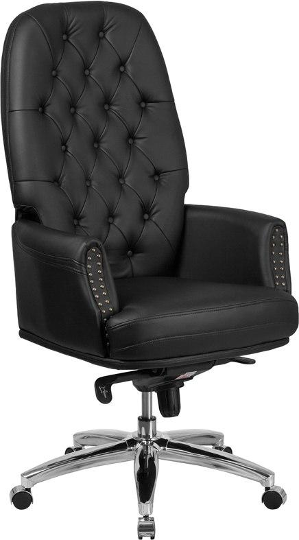 Flash Furniture BT-90269H-BK-GG High Back Traditional Tufted Black Leather Multifunction Executive Swivel Chair with Arms