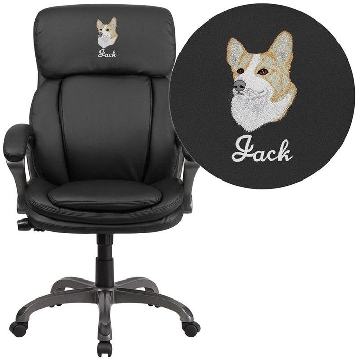 Flash Furniture BT-90272H-EMB-GG Embroidered High Back Black Leather Executive Swivel Chair with Lumbar Support Knob with Arms