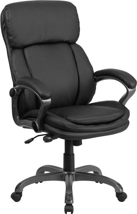 Flash Furniture BT-90272H-GG High Back Black Leather Executive Swivel Chair with Lumbar Support Knob with Arms