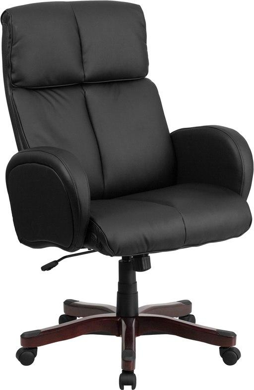Flash Furniture BT-9028H-1-GG High Back Black Leather Executive Swivel Chair with Fully Upholstered Arms