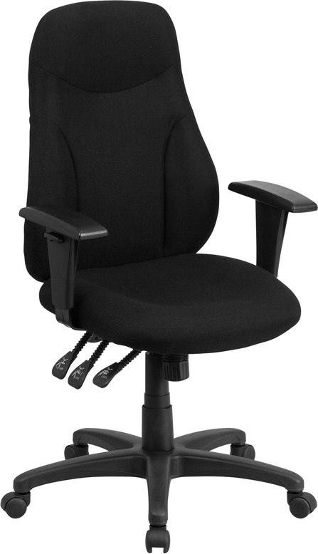 Flash Furniture BT-90297H-A-GG High Back Black Fabric Multifunction Ergonomic Swivel Task Chair with Adjustable Arms