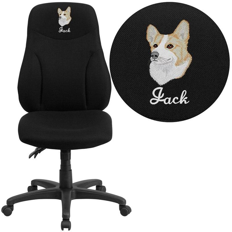 Flash Furniture BT-90297H-EMB-GG Embroidered High Back Black Fabric Multifunction Ergonomic Swivel Task Chair