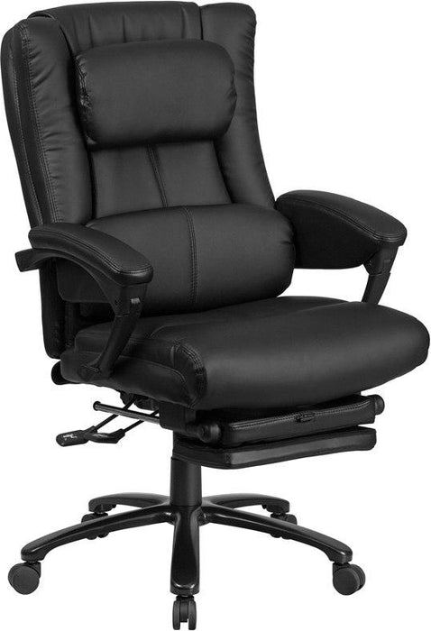 Flash Furniture BT-90527H-GG High Back Black Leather Executive Reclining Swivel Chair with Lumbar Support, Comfort Coil Seat Springs and Arms