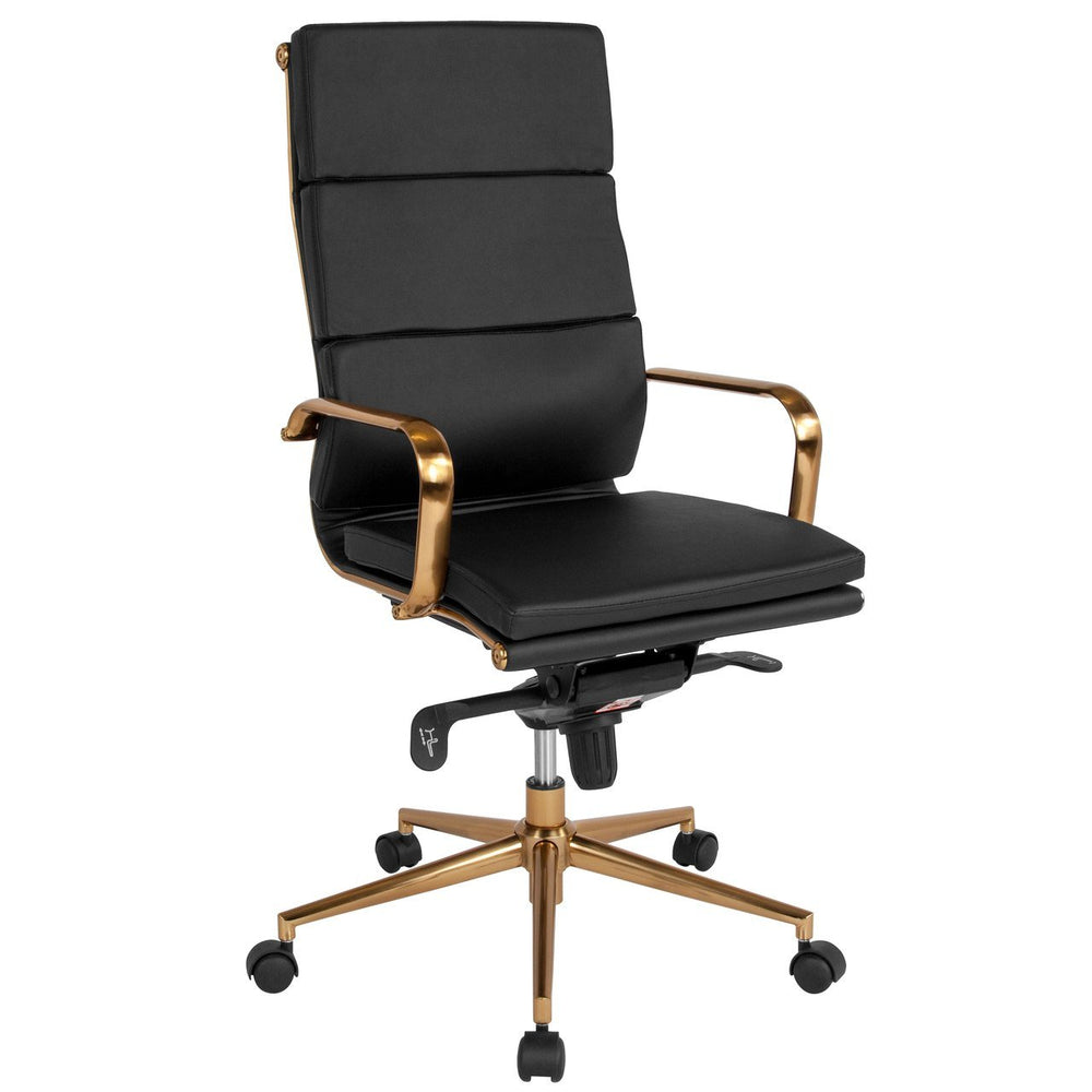 Flash Furniture BT-9895H-6-BK-GD-GG High Back Black Leather Executive Swivel Chair with Gold Frame, Synchro-Tilt Mechanism and Arms