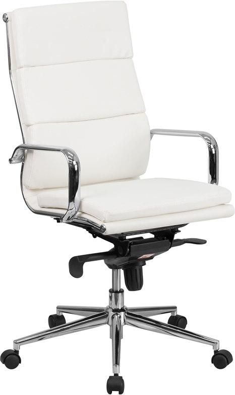 Flash Furniture BT-9895H-6-WH-GG High Back White Leather Executive Swivel Chair with Synchro-Tilt Mechanism and Arms