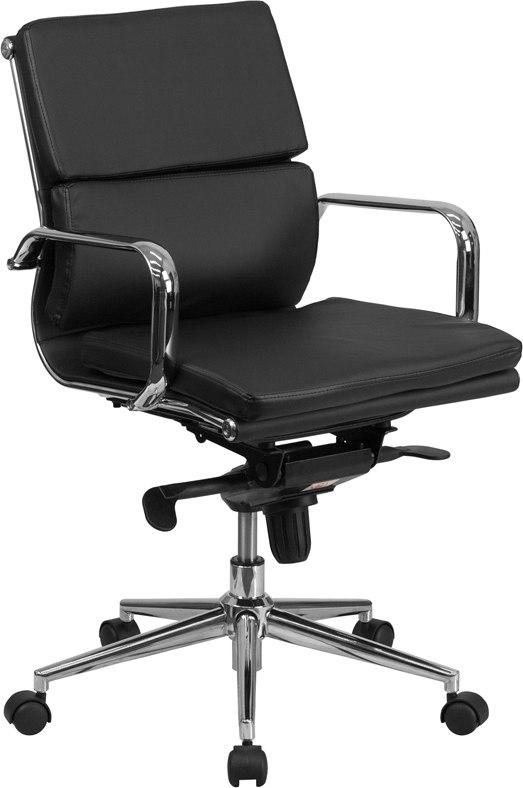 Flash Furniture BT-9895M-BK-GG Mid-Back Black Leather Executive Swivel Chair with Synchro-Tilt Mechanism and Arms