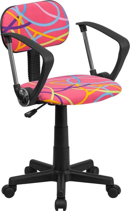 Flash Furniture BT-OLY-A-GG Multi-Colored Swirl Printed Pink Swivel Task Chair with Arms