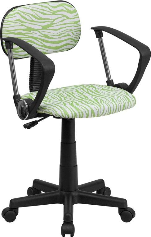 Flash Furniture BT-Z-GN-A-GG Green and White Zebra Print Swivel Task Chair with Arms