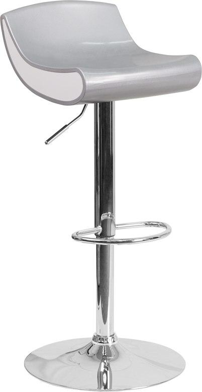 Flash Furniture CH-101010-SIL-GG Contemporary Silver and White Adjustable Height Plastic Barstool with Chrome Base
