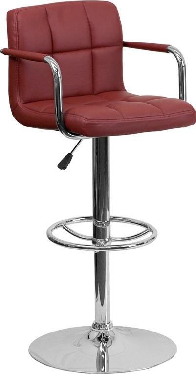 Flash Furniture CH-102029-BURG-GG Contemporary Burgundy Quilted Vinyl Adjustable Height Barstool with Arms and Chrome Base