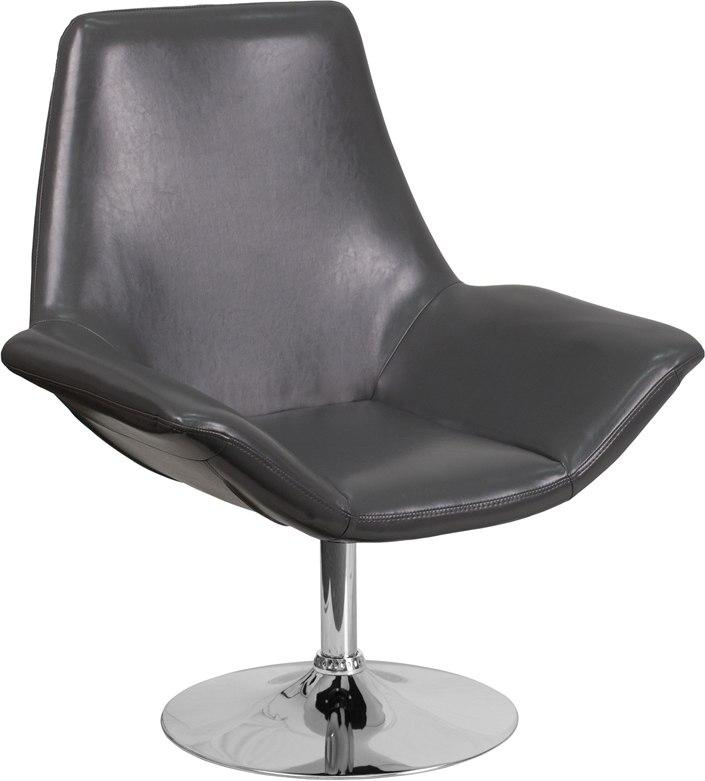 Flash Furniture CH-102242-GY-GG HERCULES Sabrina Series Gray Leather Side Reception Chair