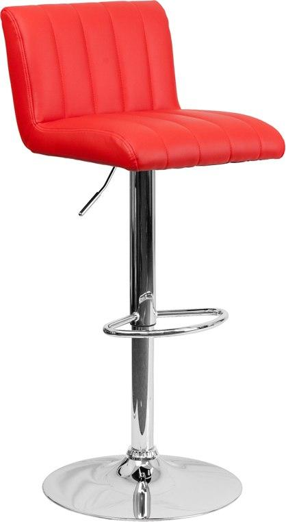Flash Furniture CH-112010-RED-GG Contemporary Red Vinyl Adjustable Height Barstool with Chrome Base