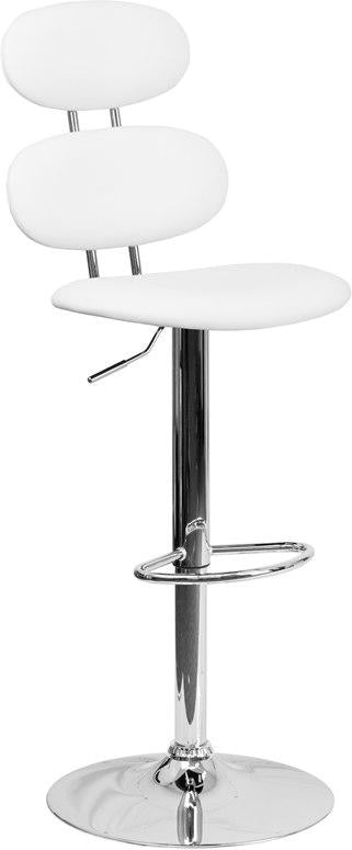 Flash Furniture CH-112280-WH-GG Contemporary White Vinyl Adjustable Height Barstool with Chrome Base