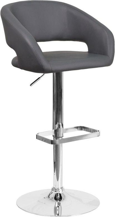 Flash Furniture CH-122070-GY-GG Contemporary Gray Vinyl Adjustable Height Barstool with Chrome Base