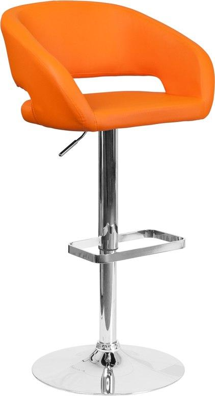 Flash Furniture CH-122070-ORG-GG Contemporary Orange Vinyl Adjustable Height Barstool with Chrome Base
