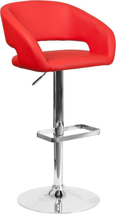 Flash Furniture CH-122070-RED-GG Contemporary Red Vinyl Adjustable Height Barstool with Chrome Base
