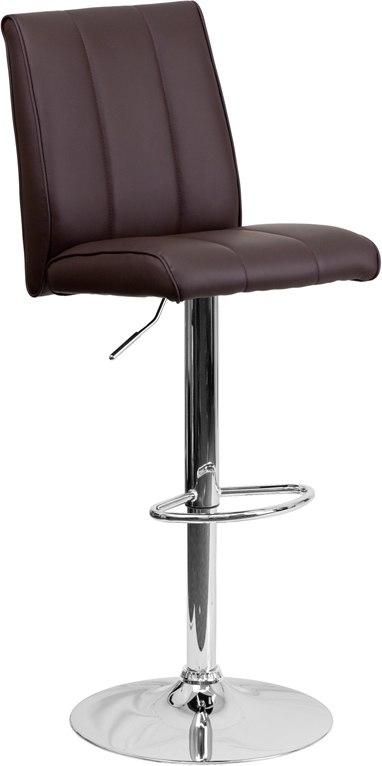 Flash Furniture CH-122090-BRN-GG Contemporary Brown Vinyl Adjustable Height Barstool with Chrome Base