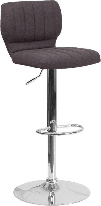 Flash Furniture CH-132330-BKFAB-GG Contemporary Charcoal Fabric Adjustable Height Barstool with Chrome Base