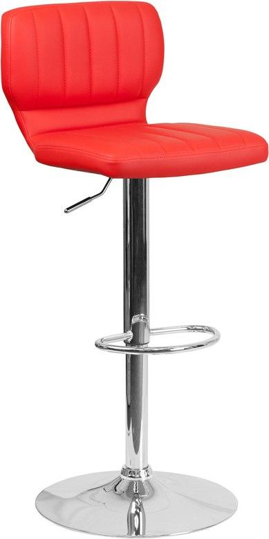 Flash Furniture CH-132330-RED-GG Contemporary Red Vinyl Adjustable Height Barstool with Chrome Base