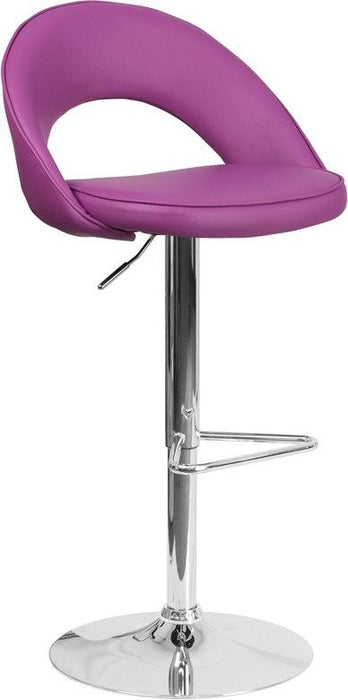 Flash Furniture CH-132491-PUR-GG Contemporary Purple Vinyl Rounded Back Adjustable Height Barstool with Chrome Base