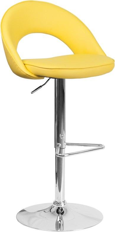 Flash Furniture CH-132491-YEL-GG Contemporary Yellow Vinyl Rounded Back Adjustable Height Barstool with Chrome Base