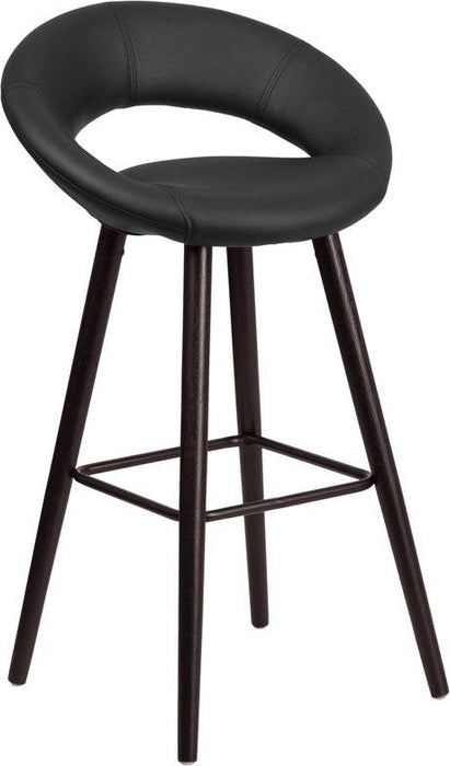 Flash Furniture CH-152550-BK-VY-GG Kelsey Series 29'' High Contemporary Cappuccino Wood Barstool in Black Vinyl