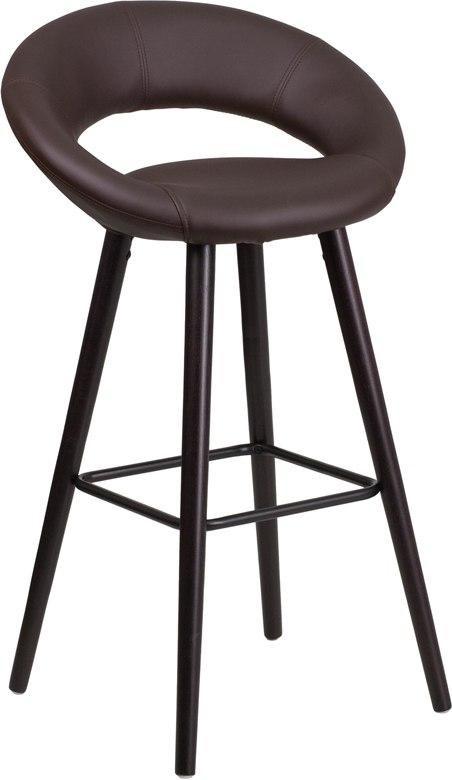Flash Furniture CH-152550-BRN-VY-GG Kelsey Series 29'' High Contemporary Cappuccino Wood Barstool in Brown Vinyl