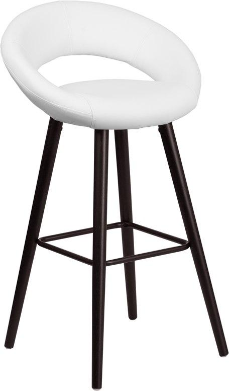 Flash Furniture CH-152550-WH-VY-GG Kelsey Series 29'' High Contemporary Cappuccino Wood Barstool in White Vinyl