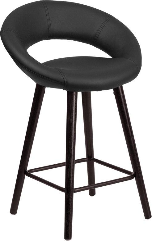 Flash Furniture CH-152551-BK-VY-GG Kelsey Series 24'' High Contemporary Cappuccino Wood Counter Height Stool in Black Vinyl