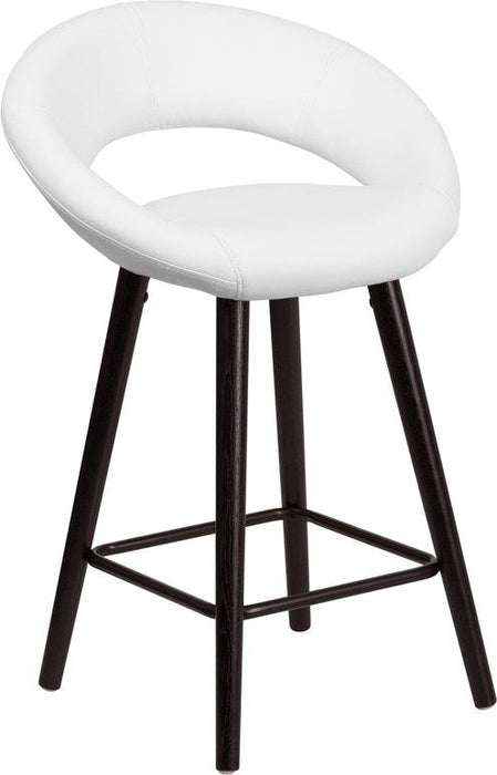 Flash Furniture CH-152551-WH-VY-GG Kelsey Series 24'' High Contemporary Cappuccino Wood Counter Height Stool in White Vinyl
