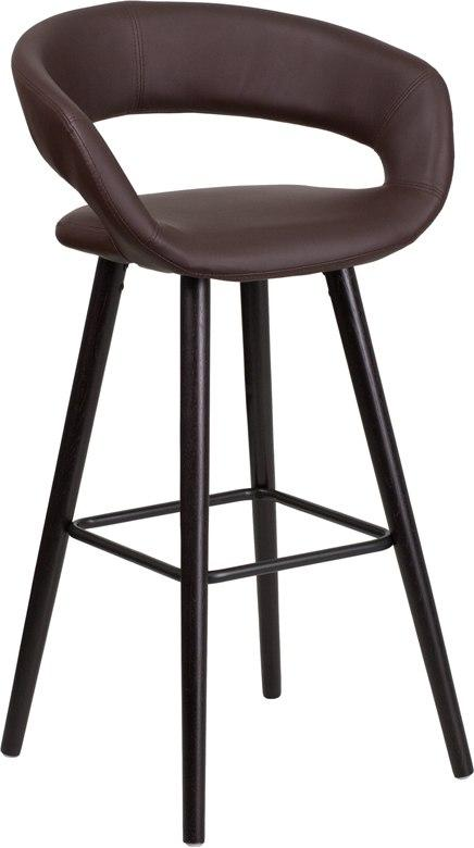 Flash Furniture CH-152560-BRN-VY-GG Brynn Series 29'' High Contemporary Cappuccino Wood Barstool in Brown Vinyl