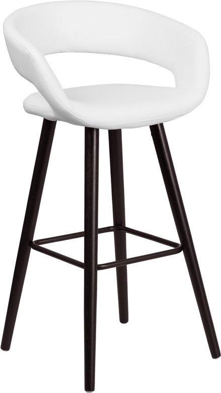 Flash Furniture CH-152560-WH-VY-GG Brynn Series 29'' High Contemporary Cappuccino Wood Barstool in White Vinyl