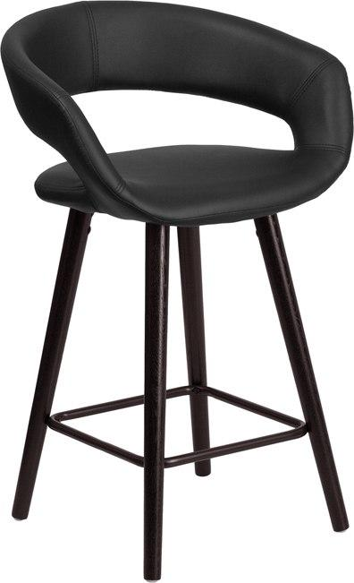 Flash Furniture CH-152561-BK-VY-GG Brynn Series 23.75'' High Contemporary Cappuccino Wood Counter Height Stool in Black Vinyl