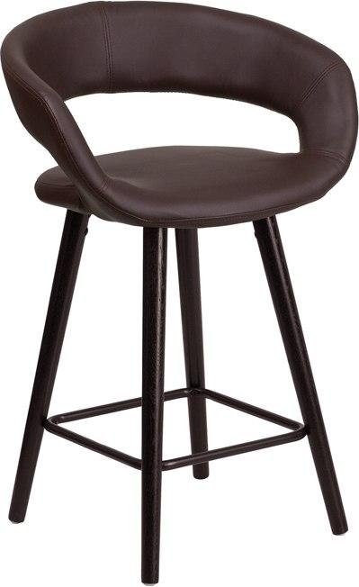 Flash Furniture CH-152561-BRN-VY-GG Brynn Series 23.75'' High Contemporary Cappuccino Wood Counter Height Stool in Brown Vinyl