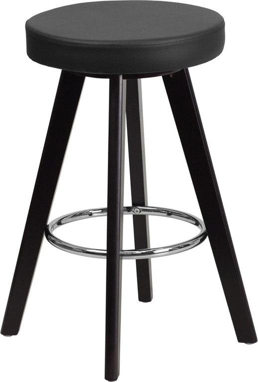 Flash Furniture CH-152600-BK-VY-GG Trenton Series 24'' High Contemporary Cappuccino Wood Counter Height Stool with Black Vinyl Seat