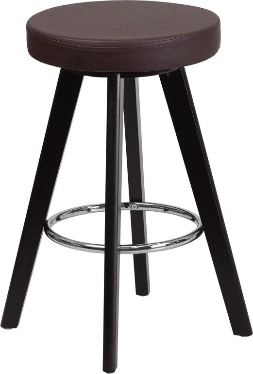 Flash Furniture CH-152600-BRN-VY-GG Trenton Series 24'' High Contemporary Cappuccino Wood Counter Height Stool with Brown Vinyl Seat