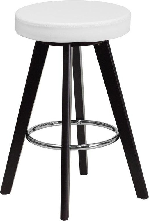Flash Furniture CH-152600-WH-VY-GG Trenton Series 24'' High Contemporary Cappuccino Wood Counter Height Stool with White Vinyl Seat