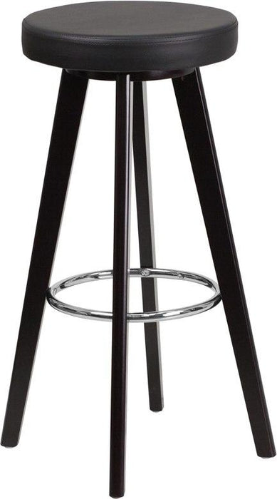 Flash Furniture CH-152601-BK-VY-GG Trenton Series 29'' High Contemporary Cappuccino Wood Barstool with Black Vinyl Seat