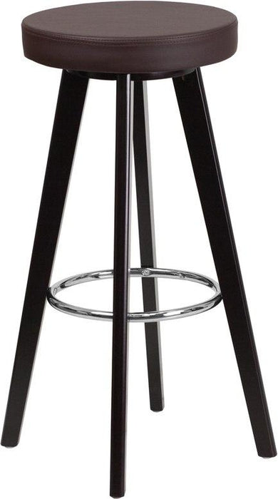 Flash Furniture CH-152601-BRN-VY-GG Trenton Series 29'' High Contemporary Cappuccino Wood Barstool with Brown Vinyl Seat