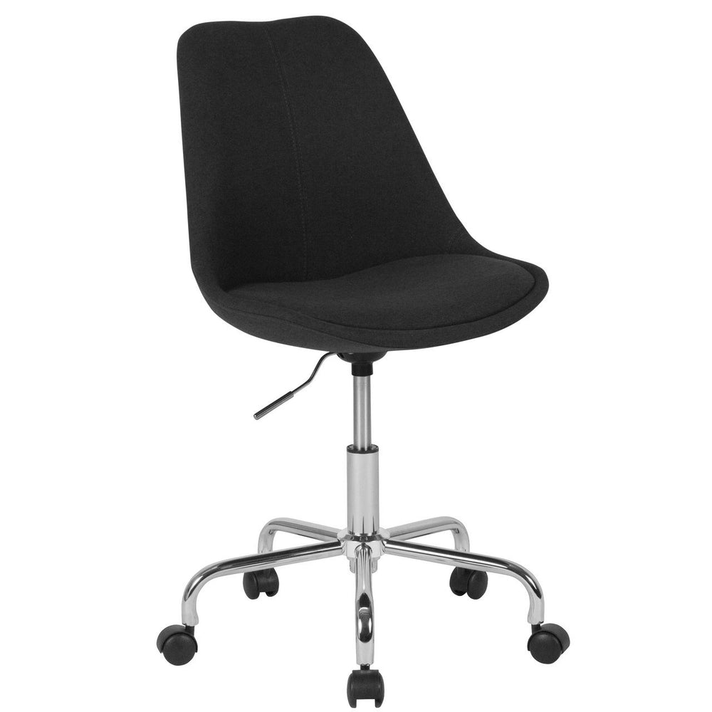 Flash Furniture CH-152783-BK-GG Aurora Series Mid-Back Black Fabric Task Chair with Pneumatic Lift and Chrome Base