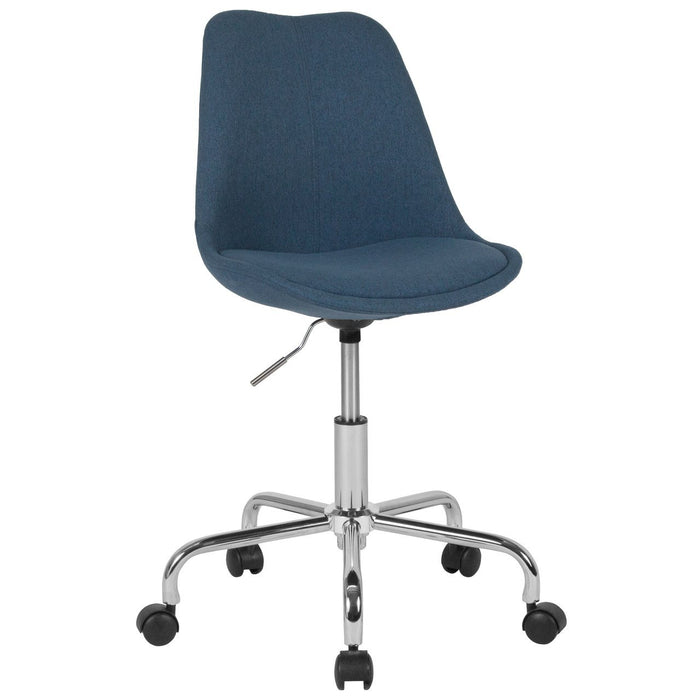 Flash Furniture CH-152783-BL-GG Aurora Series Mid-Back Blue Fabric Task Chair with Pneumatic Lift and Chrome Base