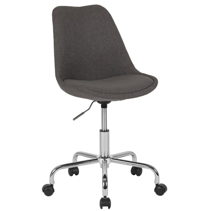 Flash Furniture CH-152783-DKGY-GG Aurora Series Mid-Back Dark Gray Fabric Task Chair with Pneumatic Lift and Chrome Base