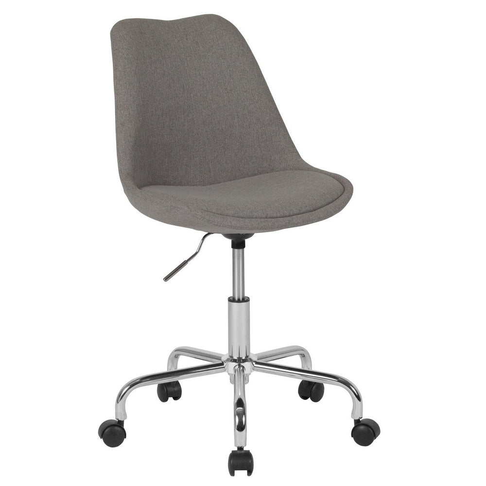 Flash Furniture CH-152783-LTGY-GG Aurora Series Mid-Back Light Gray Fabric Task Chair with Pneumatic Lift and Chrome Base