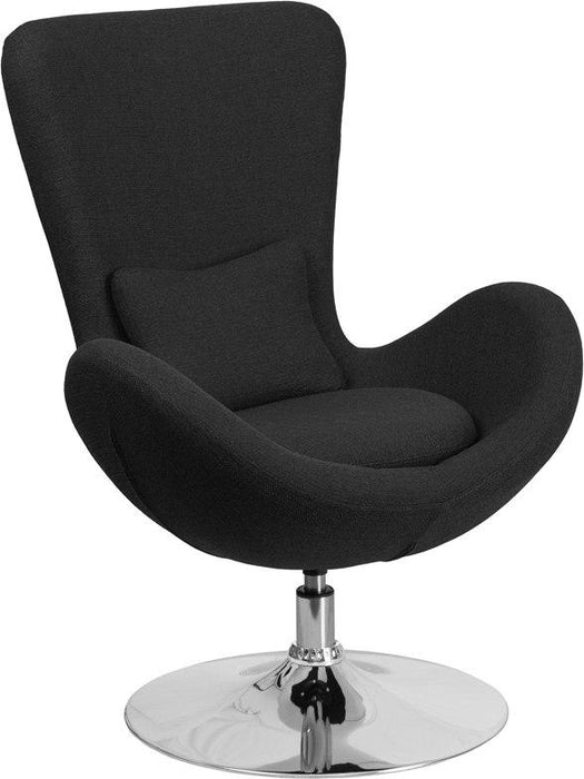 Flash Furniture CH-162430-BK-FAB-GG Egg Series Black Fabric Side Reception Chair