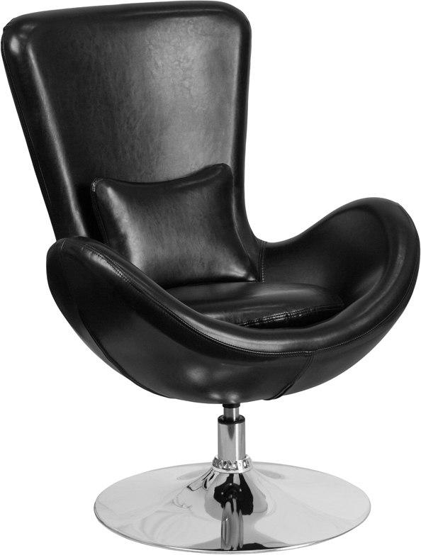 Flash Furniture CH-162430-BK-LEA-GG Egg Series Black Leather Side Reception Chair