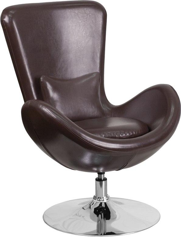 Flash Furniture CH-162430-BN-LEA-GG Egg Series Brown Leather Side Reception Chair