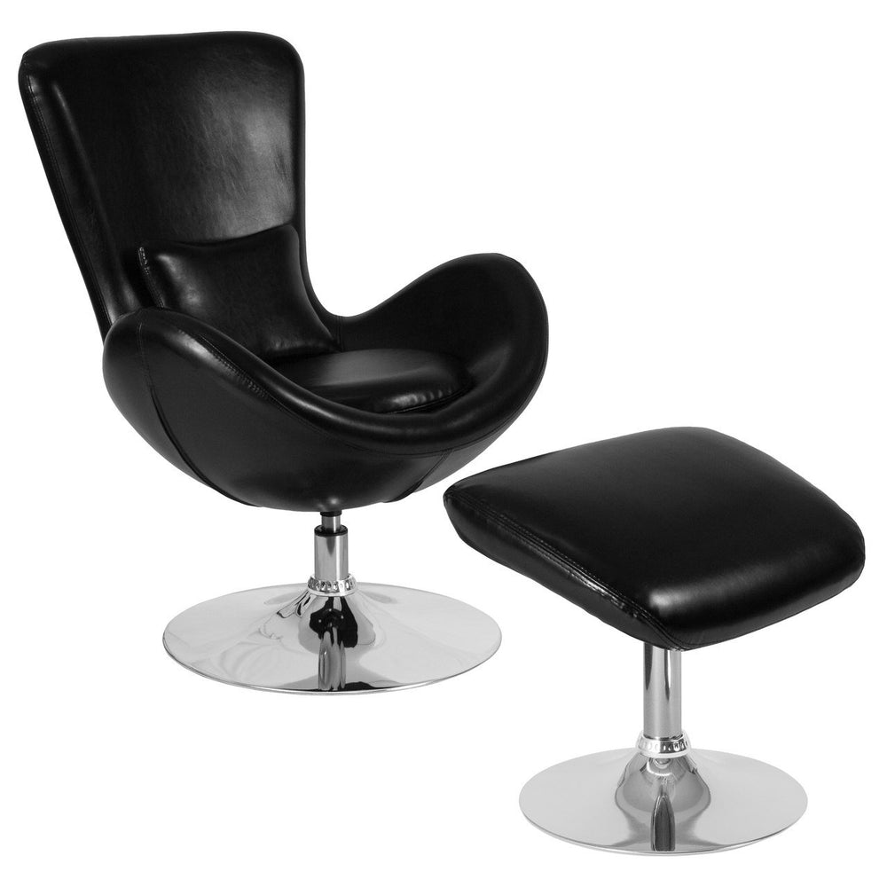 Flash Furniture CH-162430-CO-BK-LEA-GG Egg Series Black Leather Side Reception Chair with Ottoman