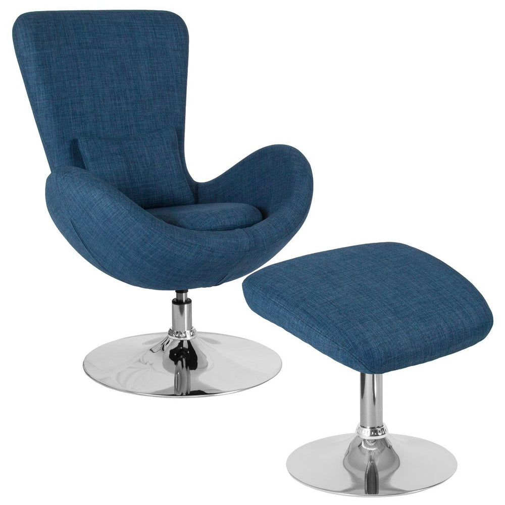 Flash Furniture CH-162430-CO-BL-FAB-GG Egg Series Blue Fabric Side Reception Chair with Ottoman